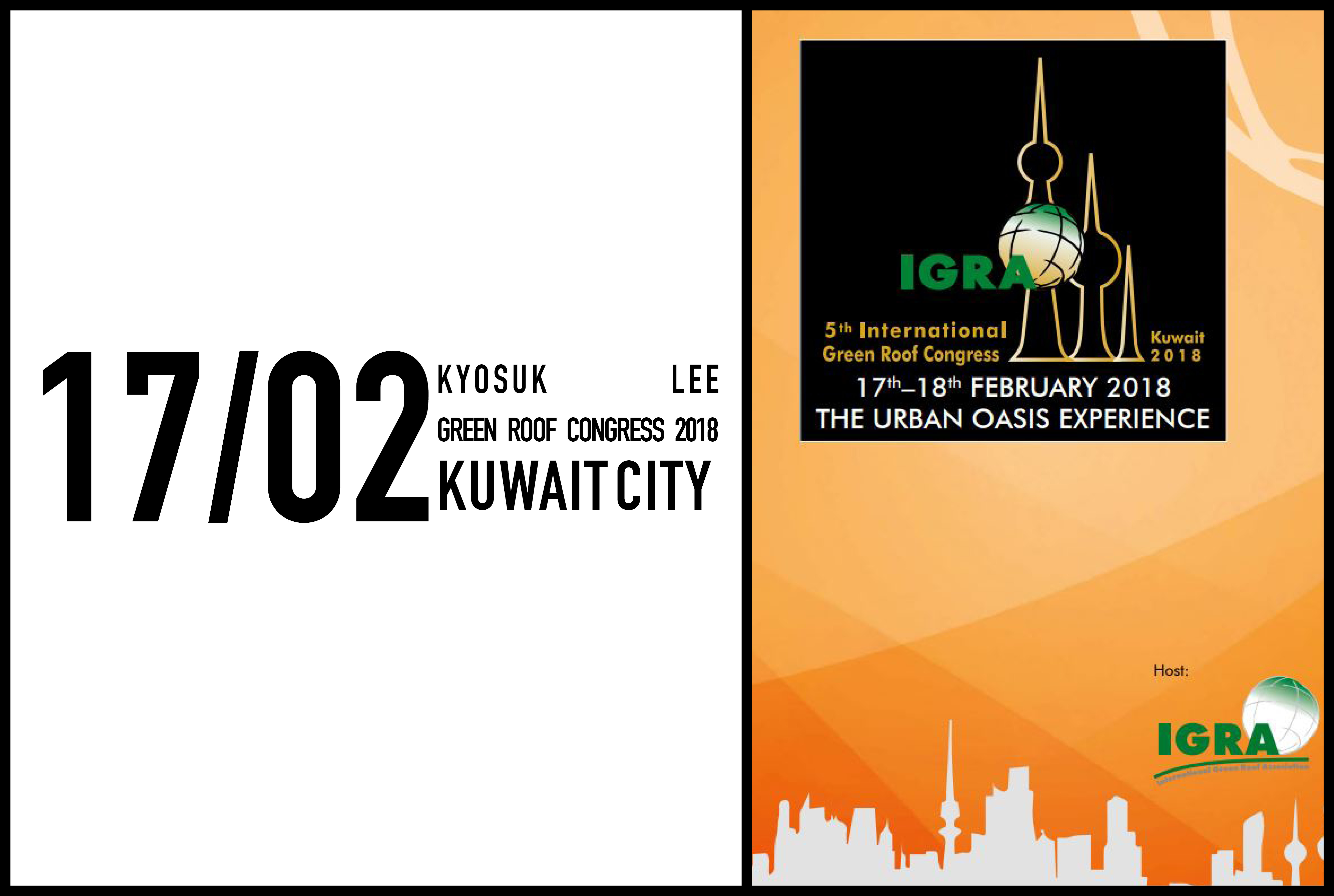 Kyosuk Lee to present on 17-18 February at the 5th International Green Roof Congress In Kuwait City, Kuwait