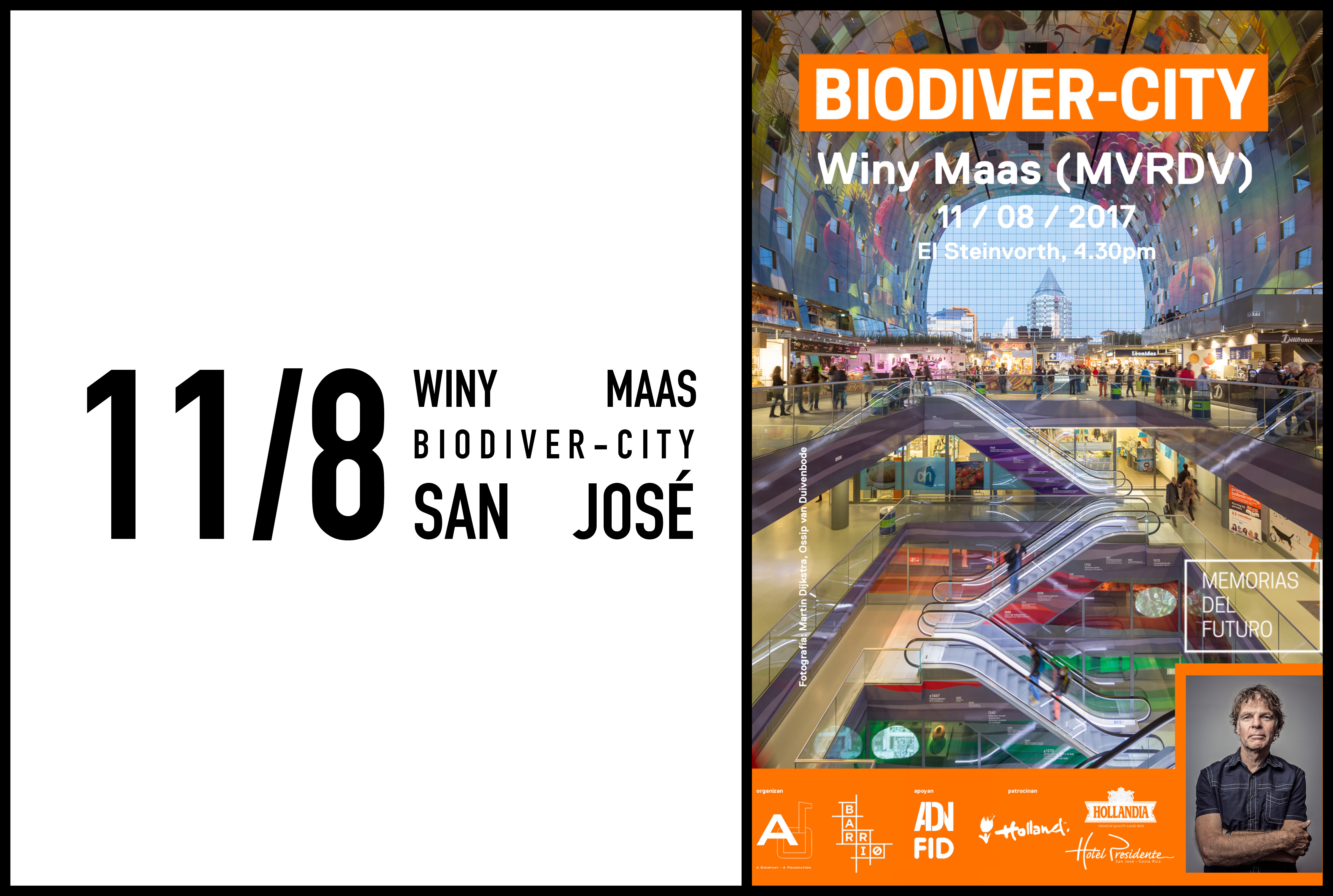 Winy Maas to give a lecture at Biodiver-City San José, 11 August 2017