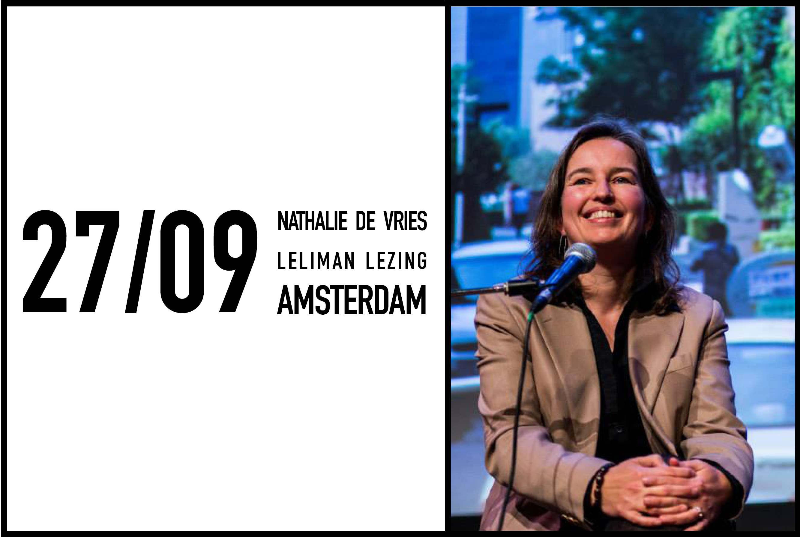 Nathalie de Vries to talk in the next Leliman lezing at Studio Benthem Amsterdam, 27 September 2017